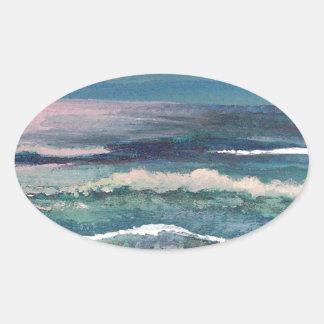 Cricket s Ocean - Beach Seascape Oval Sticker
