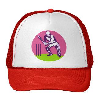 cricket sports batsman batting before wicket trucker hat