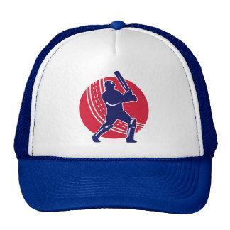cricket sports batsman batting retro ball mesh hat