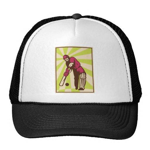cricket sports batsman batting retro hats