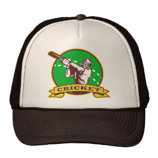 cricket sports batsman batting retro mesh hats