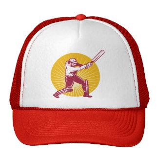 cricket sports batsman batting woodcut mesh hats
