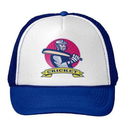 cricket sports batsman with bat retro trucker hats