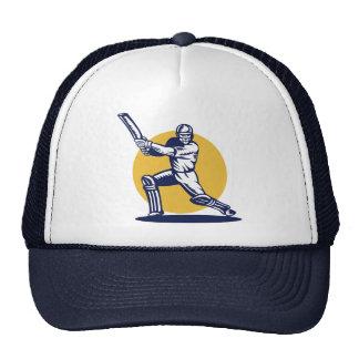 cricket sports player batsman batting woodcut hats