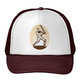 cricket sports player batsman batting woodcut mesh hats