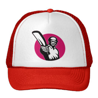 cricket sports player batsman pointing bat trucker hats