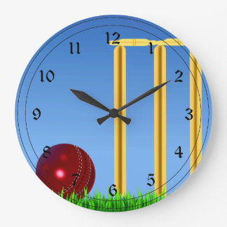 Cricket, wicket and ball large clock