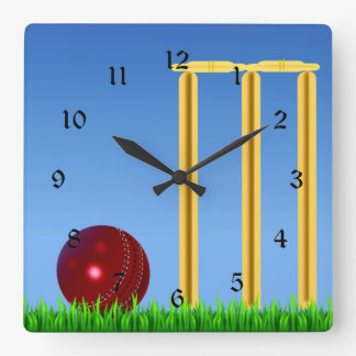 Cricket, wicket and ball square wall clock