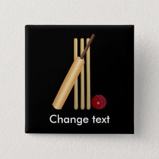Cricket, wicket, bat and ball 15 cm square badge