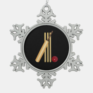 Cricket - Wicket, Bat and Ball on Black Pewter Snowflake Decoration