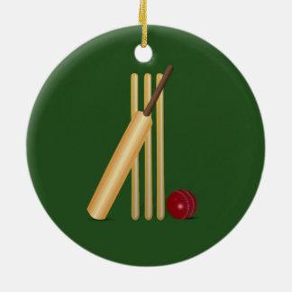 Cricket - Wicket, bat and ball Round Ceramic Decoration