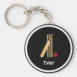 Cricket - Wicket, bat and ball - template Basic Round Button Key Ring