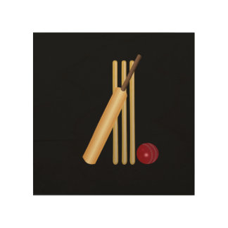 Cricket - Wicket, Bat and Ball Wood Canvas
