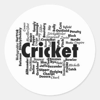 Cricket Word Cloud Round Sticker