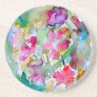 CricketDiane Flower Garden Watercolor Abstract Coaster