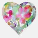 CricketDiane Flower Garden Watercolor Abstract Heart Sticker
