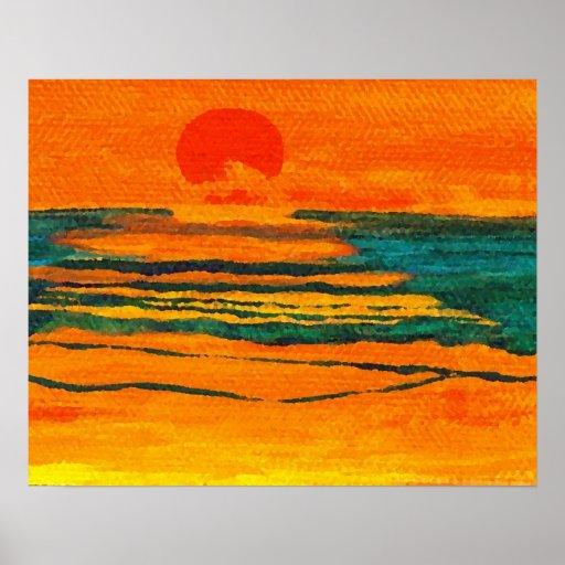 CricketDiane Ocean Poster - Graphic Sun Seascape