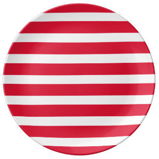 CricketDiane Red White Stripes Striped Picnic Porcelain Plate