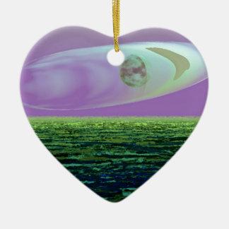 CricketDiane SciFi Art Strange Land World Birth Ceramic Heart Decoration
