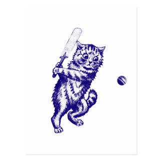 Cricketing Cat Gifts Postcard