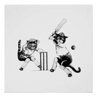 Cricketing Cats choose your own colour/image Poster