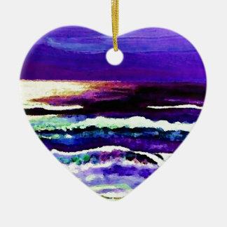 Cricket's Night Ocean Moonlight Ocean Waves Ceramic Heart Decoration