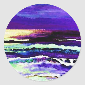 Cricket's Night Ocean Moonlight Ocean Waves Round Sticker