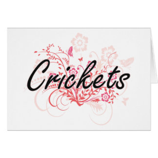 Crickets with flowers background greeting card