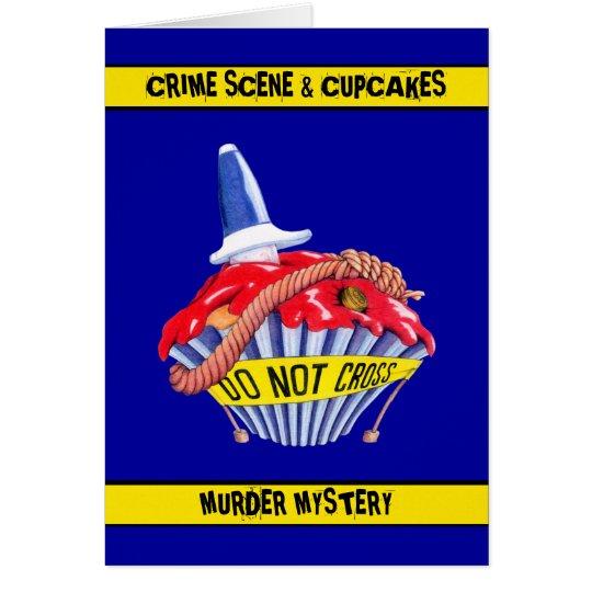 Crime Scene Cupcake Murder Mystery Invitation Card