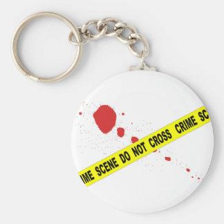 Crime Scene Do Not Cross Basic Round Button Key Ring