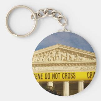 Crime Scene Do Not Cross U.S. Supreme Court Basic Round Button Key Ring