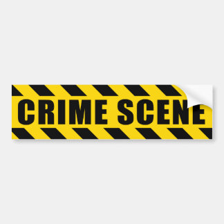Crime Scene Hazard Tape Black Yellow Stripes Bumper Sticker