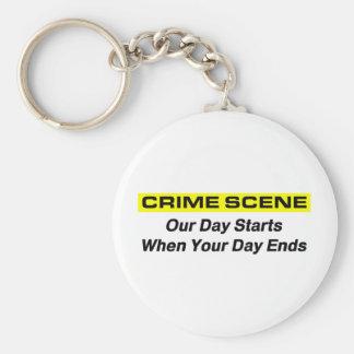 Crime Scene Investigator Basic Round Button Key Ring