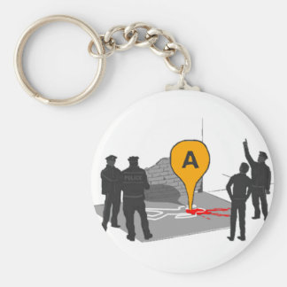 Crime Scene Map with Police and Body Outline Basic Round Button Key Ring