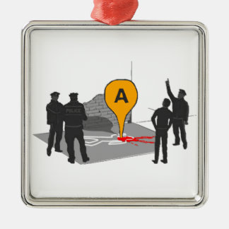 Crime Scene Map with Police and Body Outline Christmas Ornament