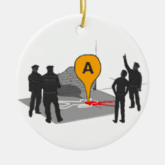 Crime Scene Map with Police and Body Outline Round Ceramic Decoration