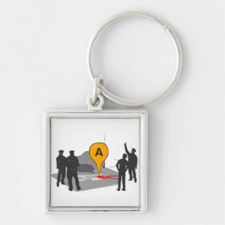 Crime Scene Map with Police and Body Outline Silver-Colored Square Key Ring