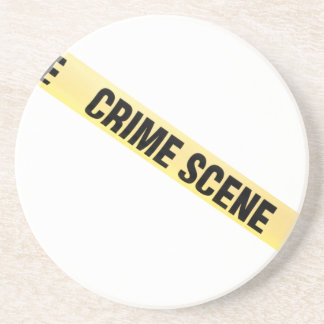 Crime scene ribbon cut out. Transparent background Coaster
