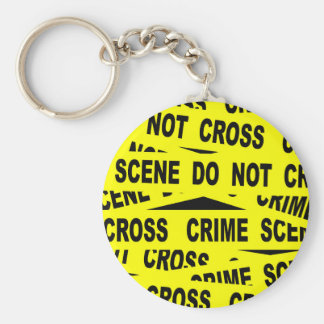Crime Scene Tape Basic Round Button Key Ring