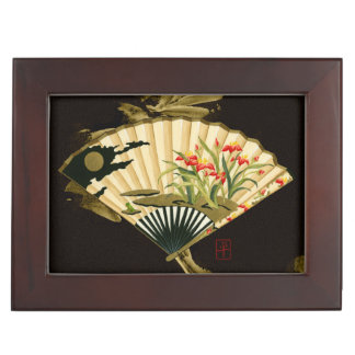 Crimped Oriental Fan with Floral Design Keepsake Box