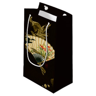 Crimped Oriental Fan with Floral Design Small Gift Bag