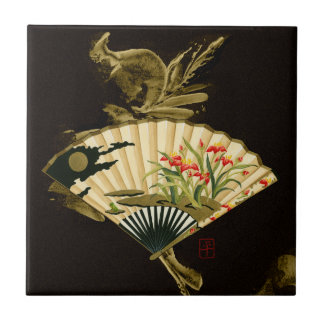Crimped Oriental Fan with Floral Design Tile