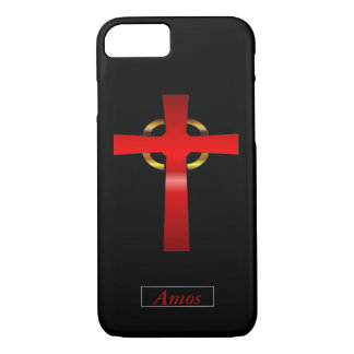 Crimson and Gold Celtic Cross iPhone 8/7 Case