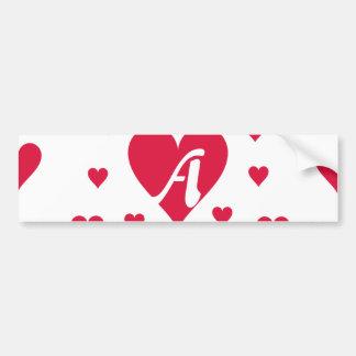 Crimson and White Hearts Monogram Bumper Sticker