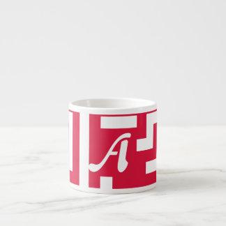 Crimson and White Maze Monogram Espresso Mug