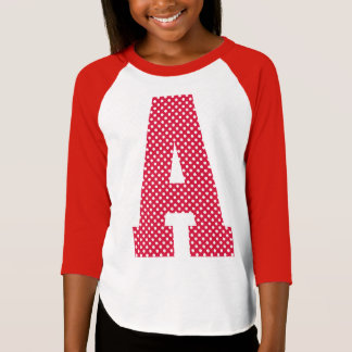 Crimson and White Polka Dot Monogram T Shirts