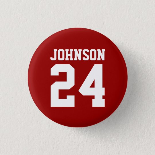 Crimson and White School Spirit Personalised Team 3 Cm Round Badge
