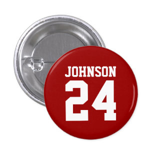 Crimson and White School Spirit Personalized Team Pinback Buttons