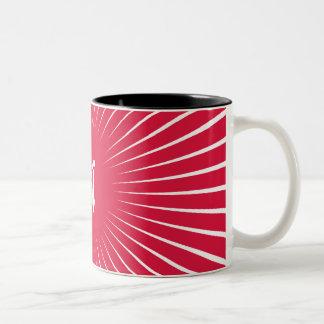 Crimson and White Sunrays Monogram Mug