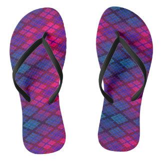 Crimson blue funky plaid flip flops